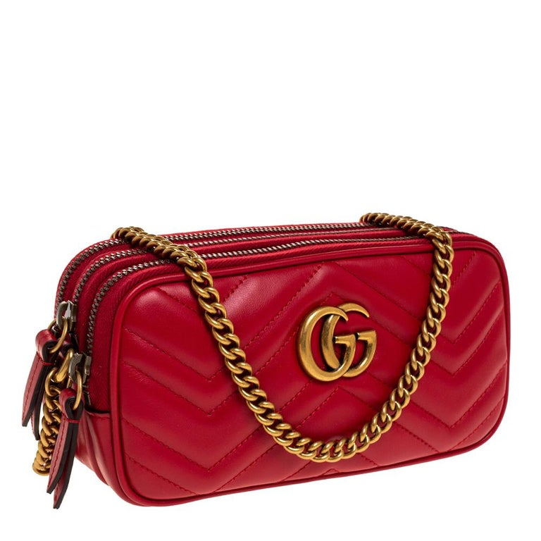 Women's Gucci Red Leather Mini GG Marmont Chain Shoulder Bag