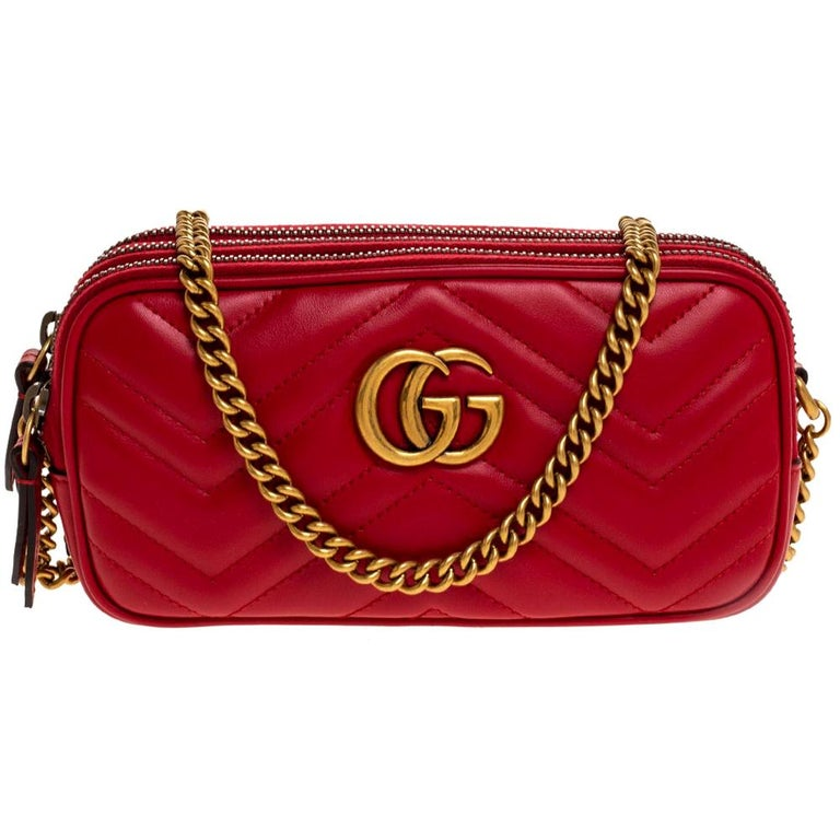 Gucci Red Leather Mini GG Marmont Chain Shoulder Bag
