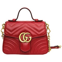 Gucci Red Leather Mini Marmont Bag