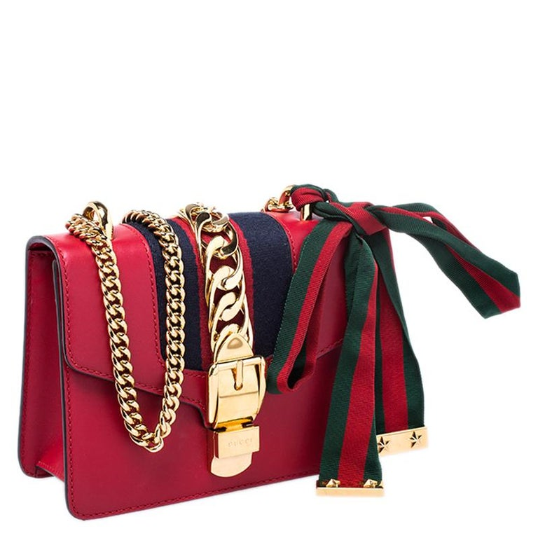Gucci Red Leather Mini Web Chain Sylvie Shoulder Bag For Sale 1