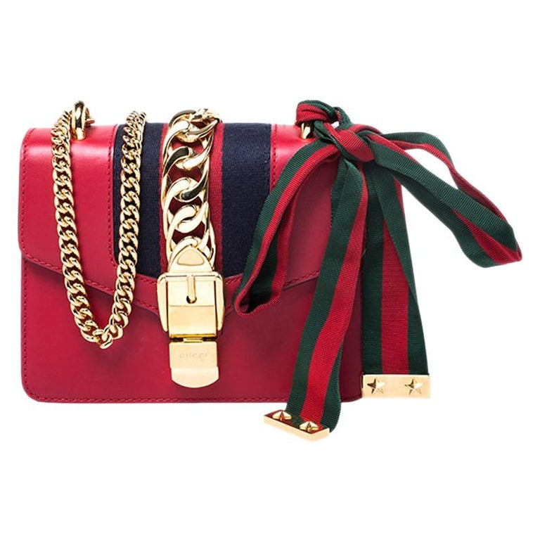 Gucci Red Leather Mini Web Chain Sylvie Shoulder Bag For Sale