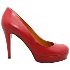 Gucci Red Leather Platform Pumps