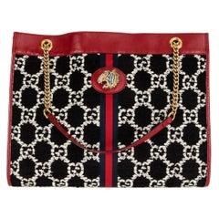 GUCCI red leather RAJA LARGE GG JACQUARD TOTE Shoulder Bag