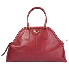 GUCCI red leather RE(BELLE) LARGE Top Handle Shoulder Bag
