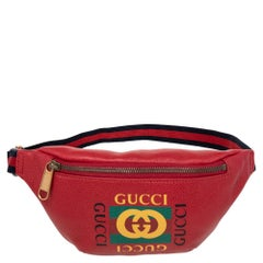 Gucci Red Leather Small Gucci Print Belt Bag