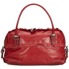 Gucci Red Leather Small Sabrina Top Handle Bag