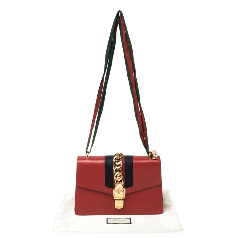 Gucci Red Leather Small Web Chain Sylvie Shoulder Bag For Sale 8