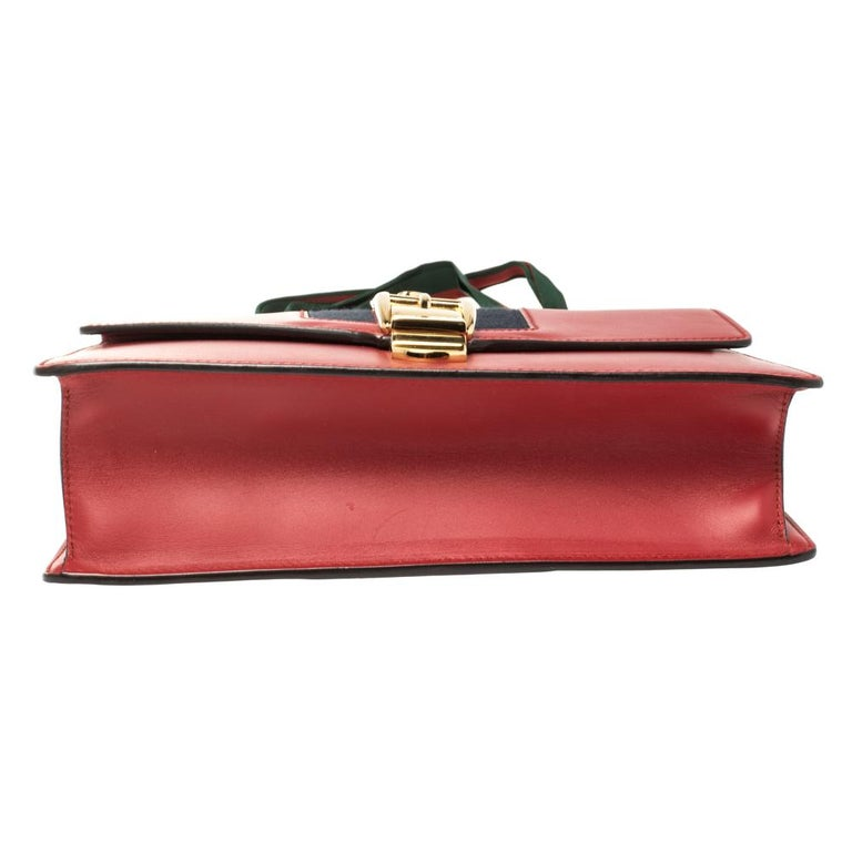 Gucci Red Leather Small Web Chain Sylvie Shoulder Bag For Sale 1