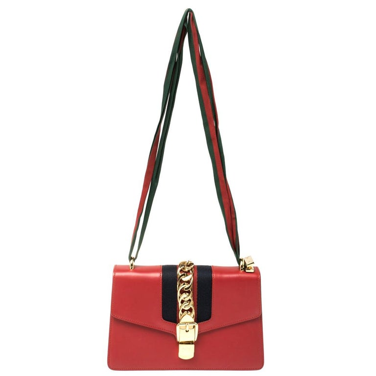 Gucci Red Leather Small Web Chain Sylvie Shoulder Bag For Sale