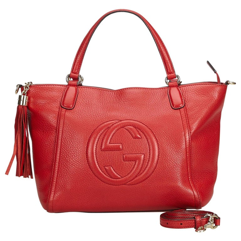 261f7b039 Gucci Red Leather Soho Working Satchel Italy w/ Dust Bag at 1stdibs