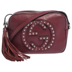 Gucci Red Leather Studded Soho Disco Crossbody Bag