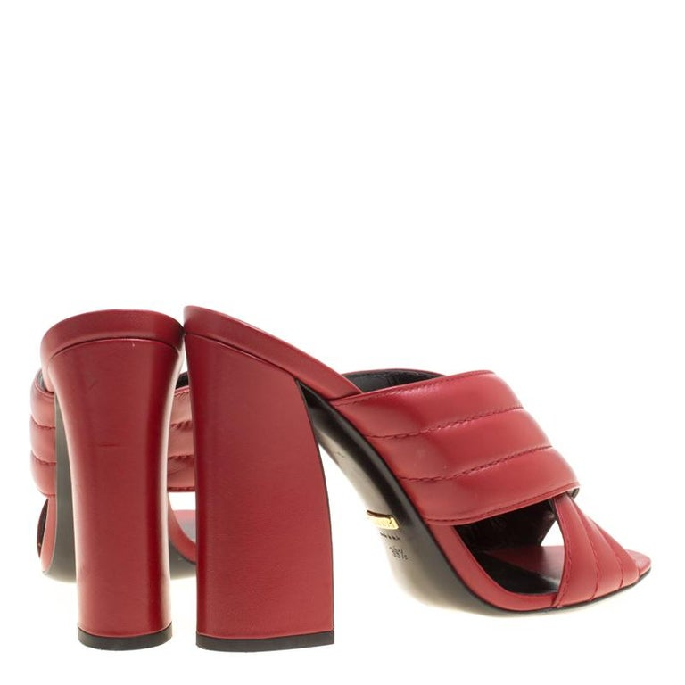 24dd979f9f60 Gucci Red Leather Sylvia Crossover Mules Size 39.5 In Good Condition For  Sale In Dubai