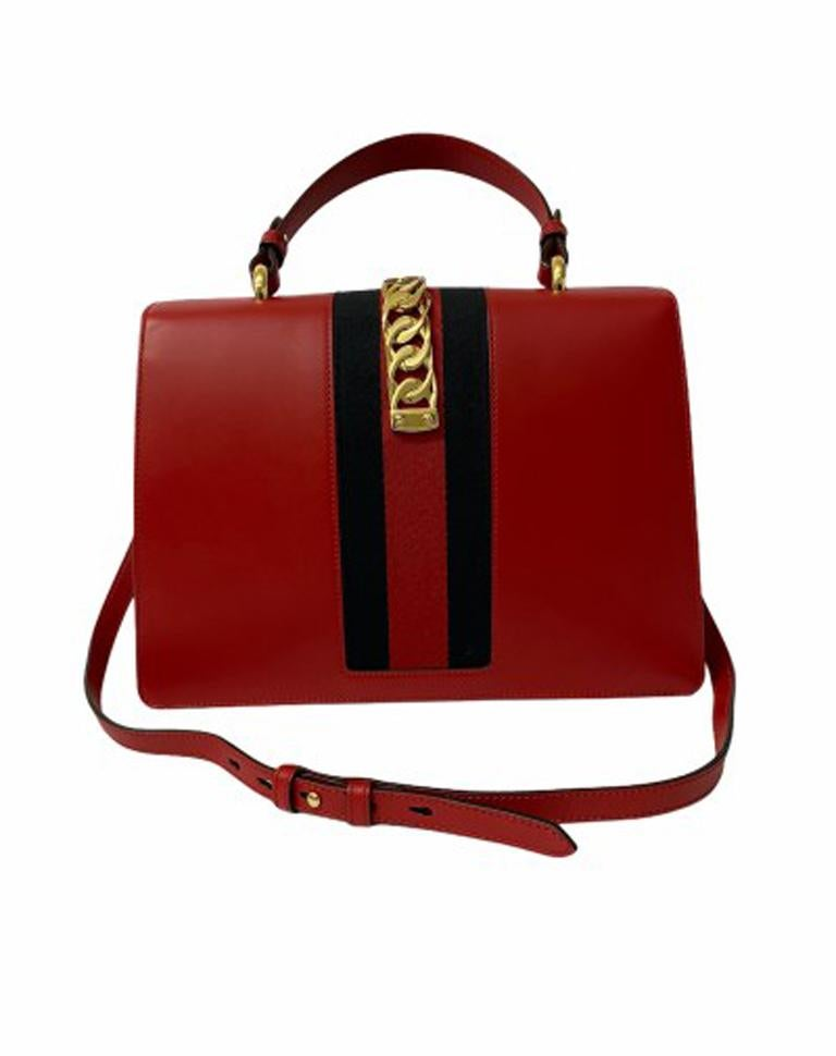Women's Gucci Red Leather Sylvie Shoulder Bag  For Sale