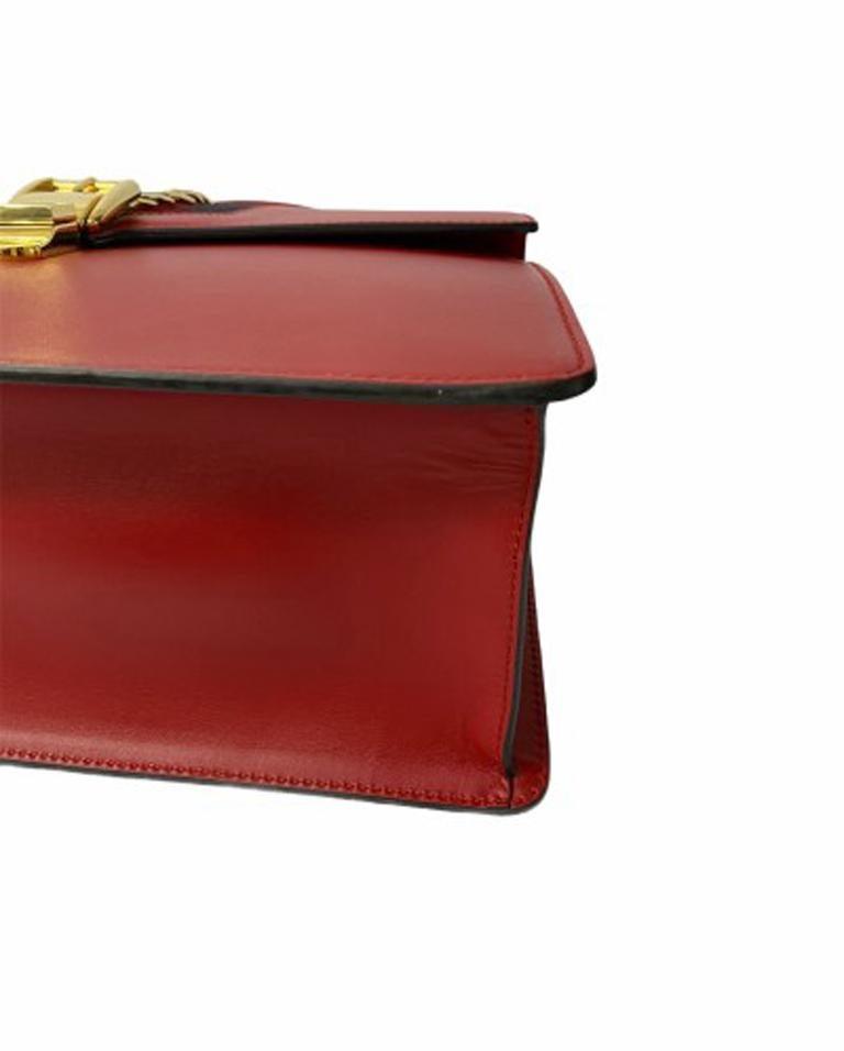 Gucci Red Leather Sylvie Shoulder Bag  For Sale 2