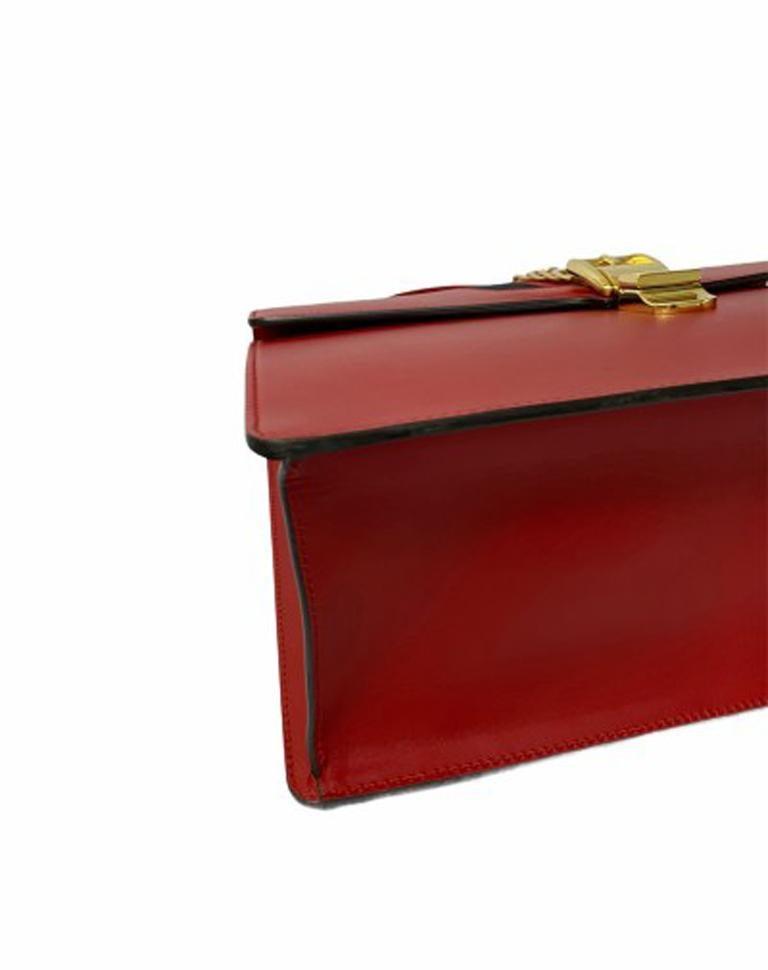Gucci Red Leather Sylvie Shoulder Bag  For Sale 3