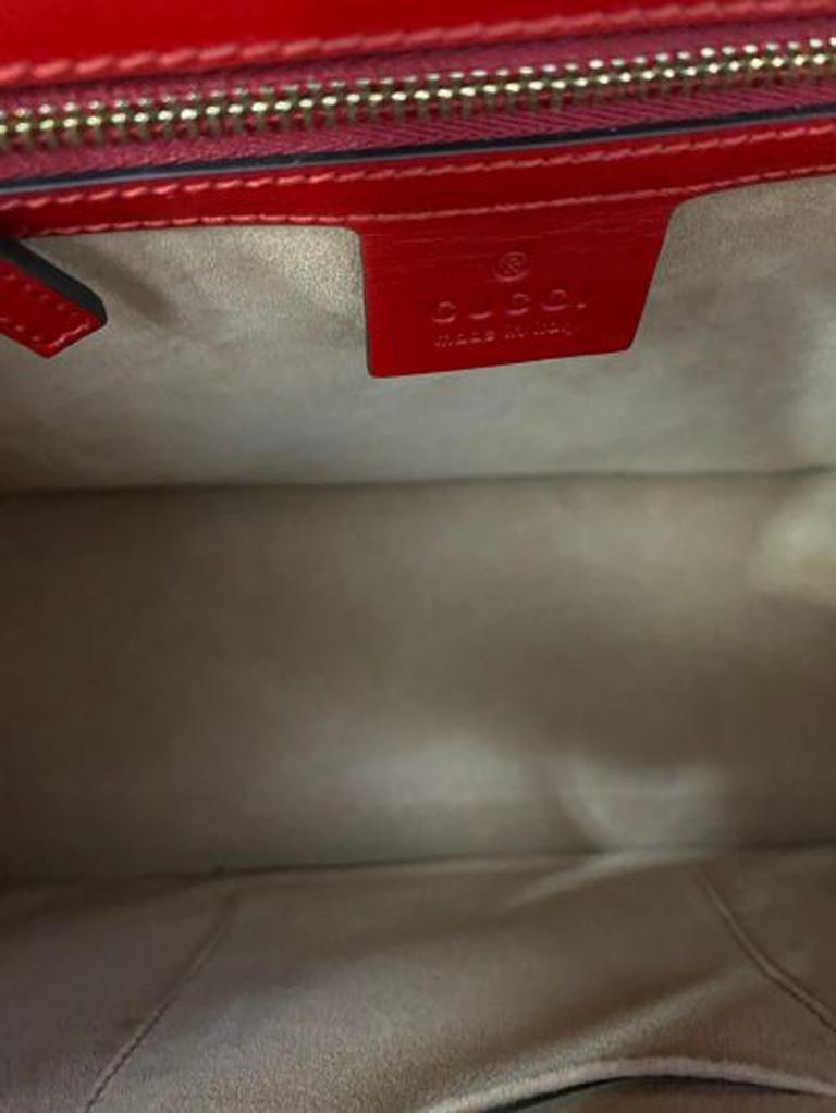Gucci Red Leather Sylvie Shoulder Bag  For Sale 4