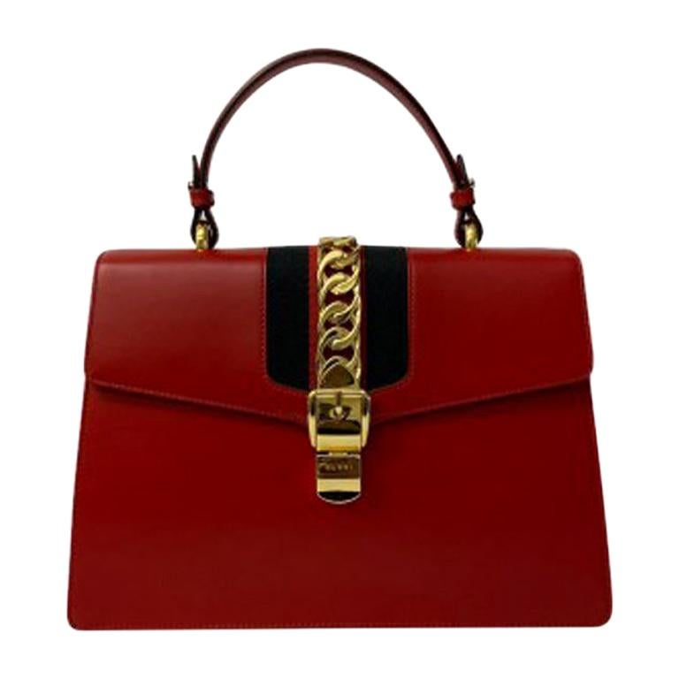 Gucci Red Leather Sylvie Shoulder Bag  For Sale
