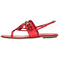 Gucci Red Leather Thong Flat w/ Bit and Tassel sz 38