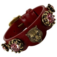 Gucci Red Leather Tiger Head Pink Crystals Bracelet Never Worn