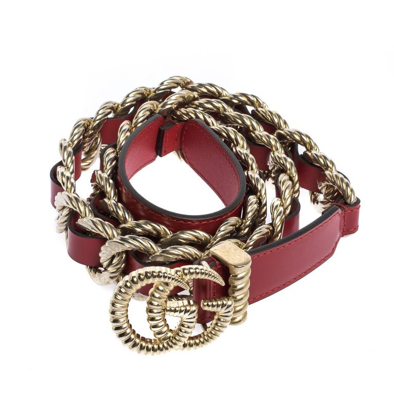 Brown Gucci Red Leather Torchon Chain GG Buckle Belt 90CM For Sale