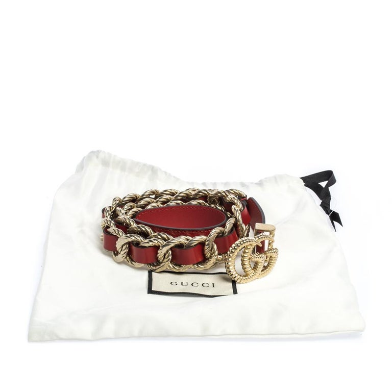 Women's Gucci Red Leather Torchon Chain GG Buckle Belt 90CM For Sale
