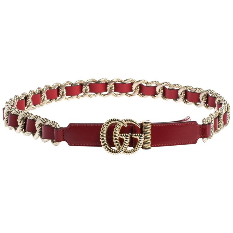 Gucci Red Leather Torchon Chain GG Buckle Belt 90CM For Sale