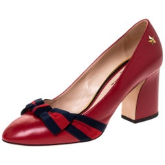 Gucci Red Leather Web Bow Block Heel Pumps Size 38.5