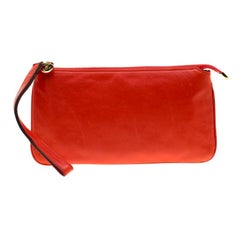 Gucci Red Leather Wristlet Clutch