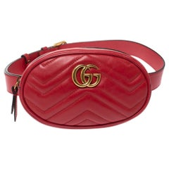 Gucci Red Matelassé Leather GG Marmont Belt Bag