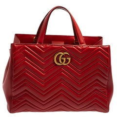Gucci Red Matelassé Leather GG Marmont Tote