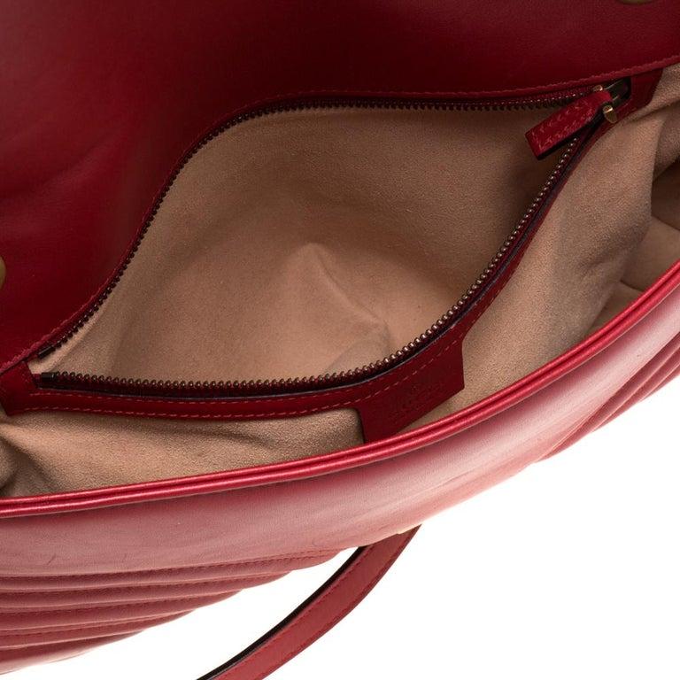 Gucci Red Matelasse Leather Medium GG Marmont Shoulder Bag For Sale 7