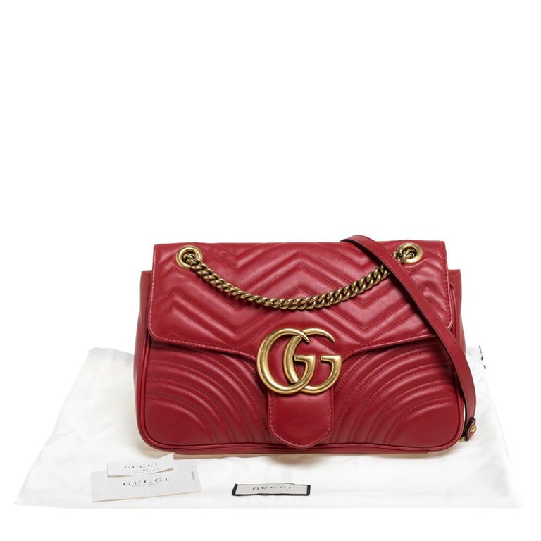 Gucci Red Matelasse Leather Medium GG Marmont Shoulder Bag For Sale 8
