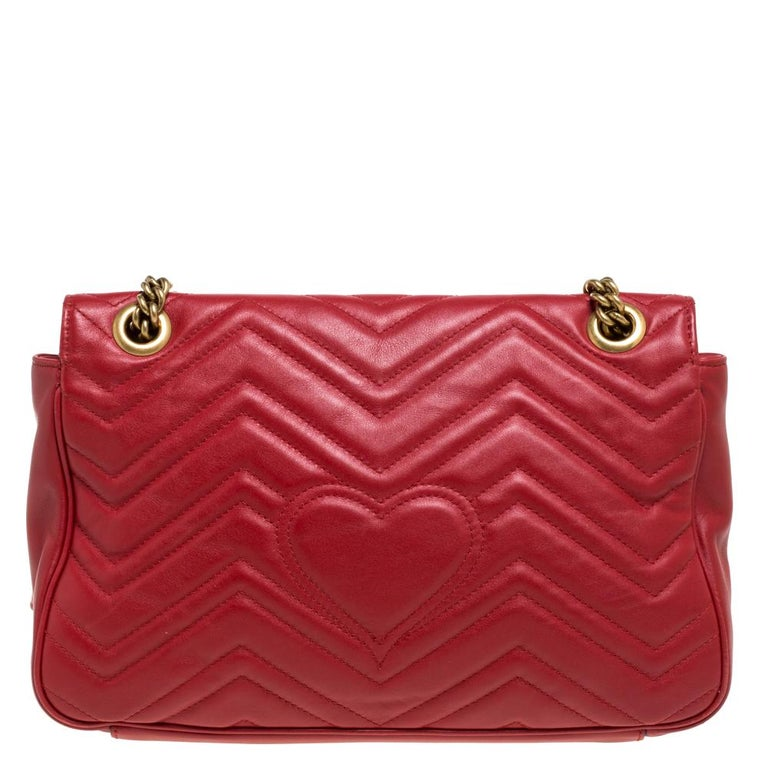 Women's Gucci Red Matelasse Leather Medium GG Marmont Shoulder Bag For Sale