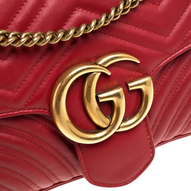 Gucci Red Matelasse Leather Medium GG Marmont Shoulder Bag For Sale 1