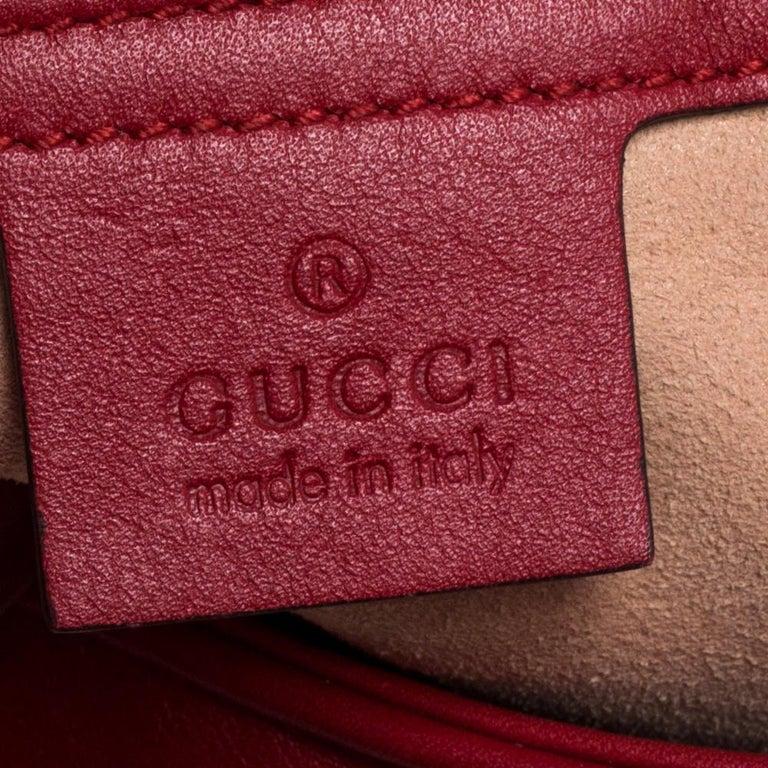 Gucci Red Matelasse Leather Medium GG Marmont Shoulder Bag For Sale 3