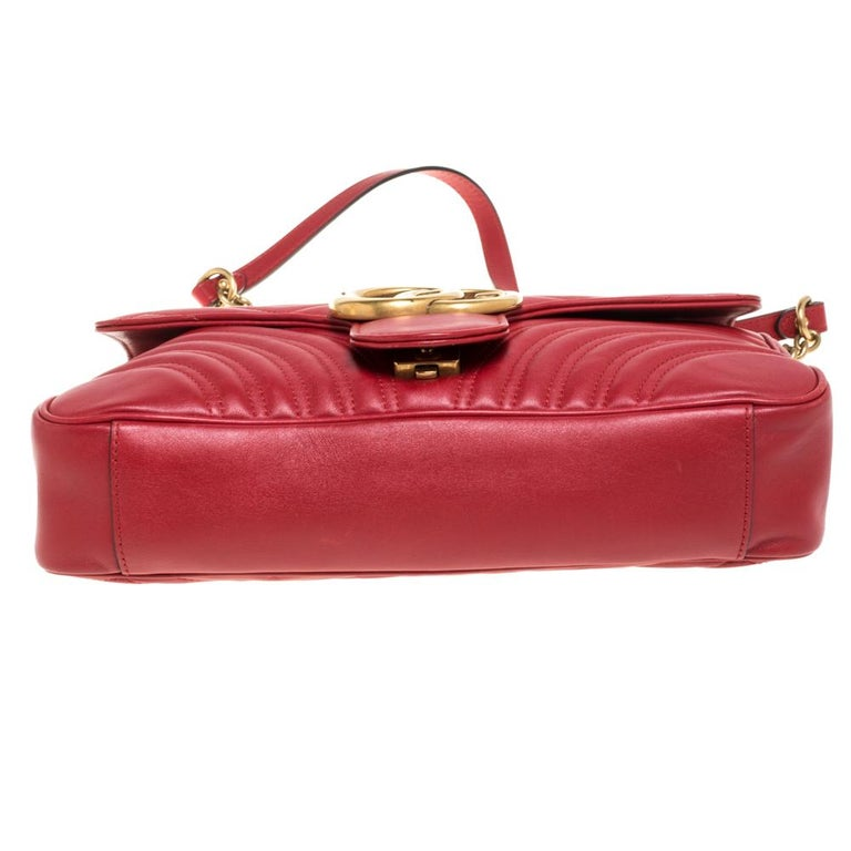 Gucci Red Matelasse Leather Medium GG Marmont Shoulder Bag For Sale 3