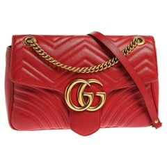 Gucci Red Matelasse Leather Medium GG Marmont Shoulder Bag
