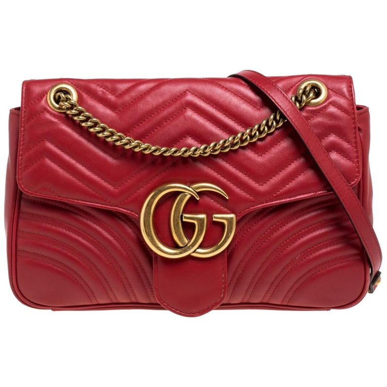 Gucci Red Matelasse Leather Medium GG Marmont Shoulder Bag For Sale