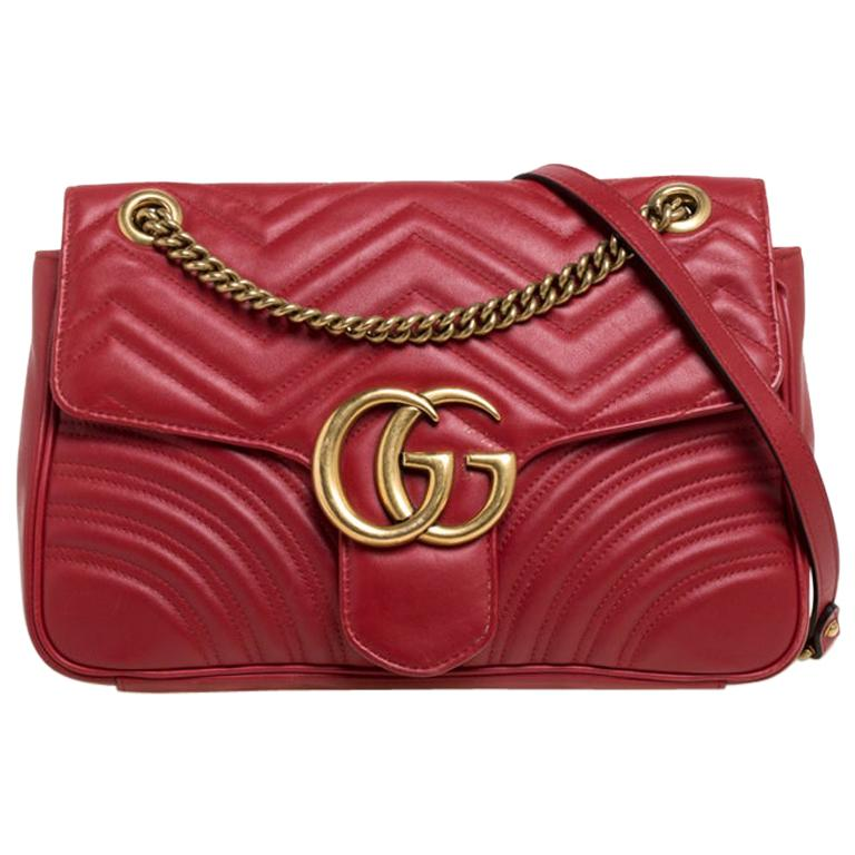 Gucci Red Matelasse Leather Medium GG Marmont Shoulder Bag For Sale