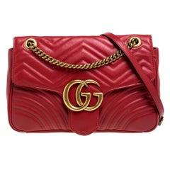 Gucci Red Matelasse Leather Medium GG Marmont Shoulder Bag