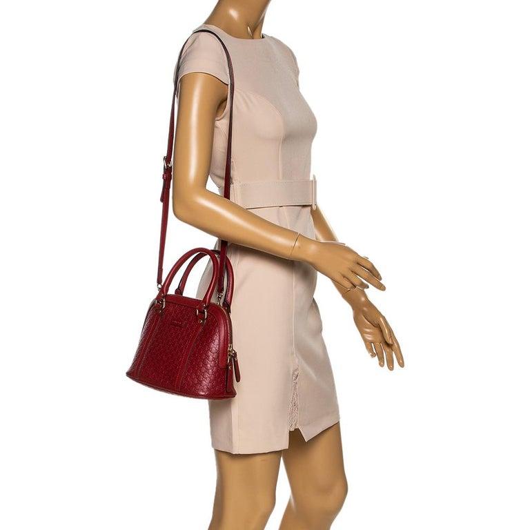 Brown Gucci Red Microguccissima Leather Mini Dome Bag For Sale