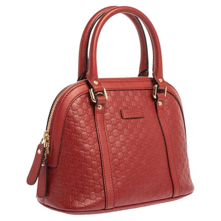 Gucci Red Microguccissima Leather Mini Dome Bag In Good Condition For Sale In Dubai, Al Qouz 2