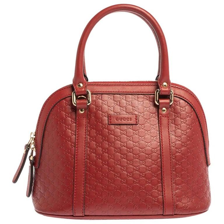 Gucci Red Microguccissima Leather Mini Dome Bag For Sale