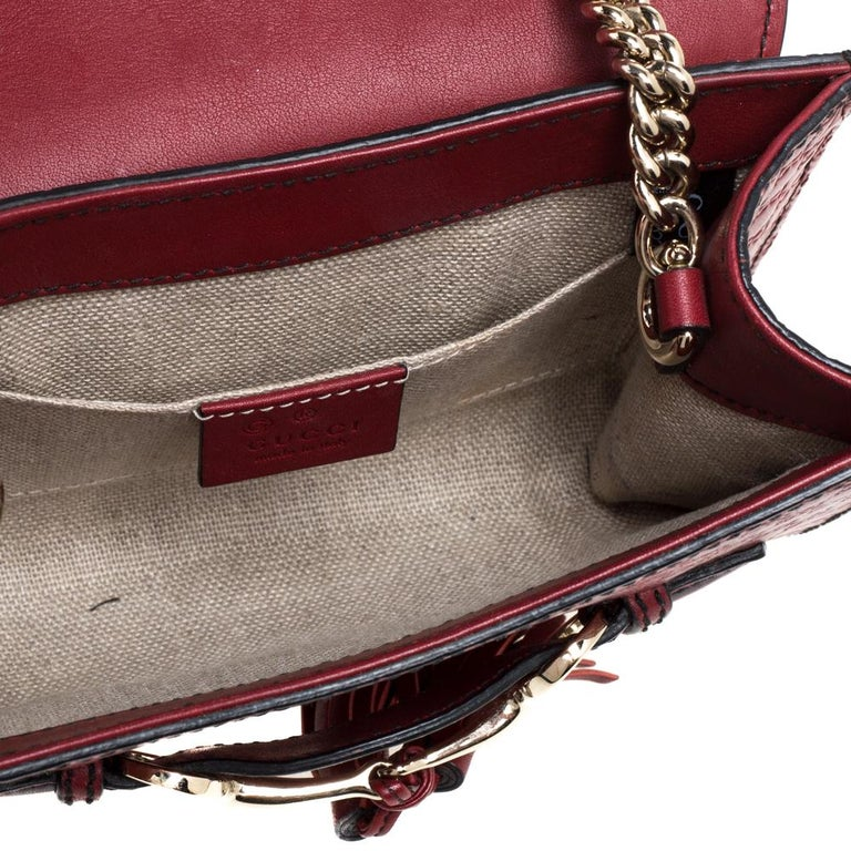 Gucci Red Microguccissima Leather Mini Emily Chain Shoulder Bag For Sale 6