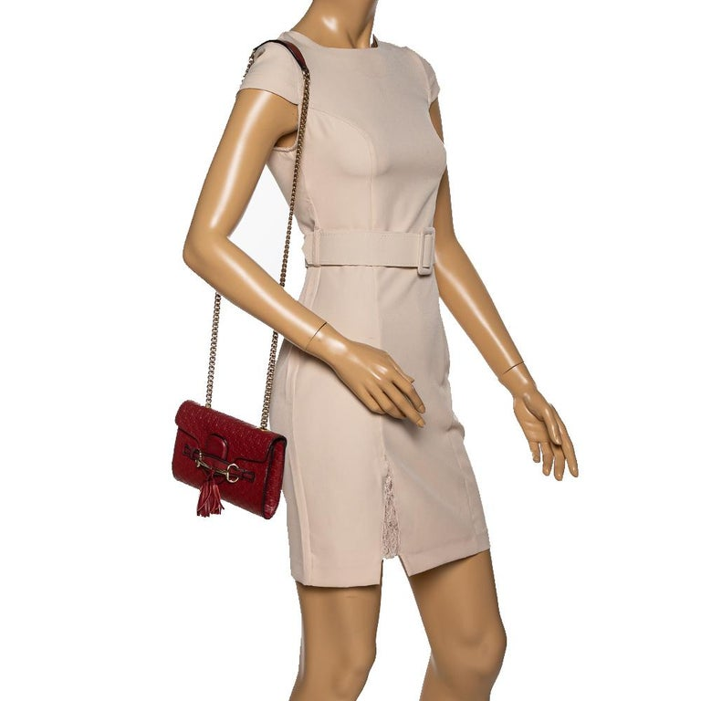 Brown Gucci Red Microguccissima Leather Mini Emily Chain Shoulder Bag For Sale