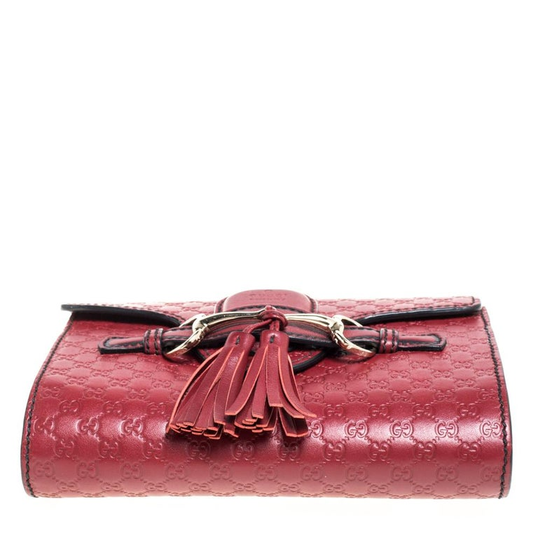 Women's Gucci Red Microguccissima Leather Mini Emily Chain Shoulder Bag For Sale