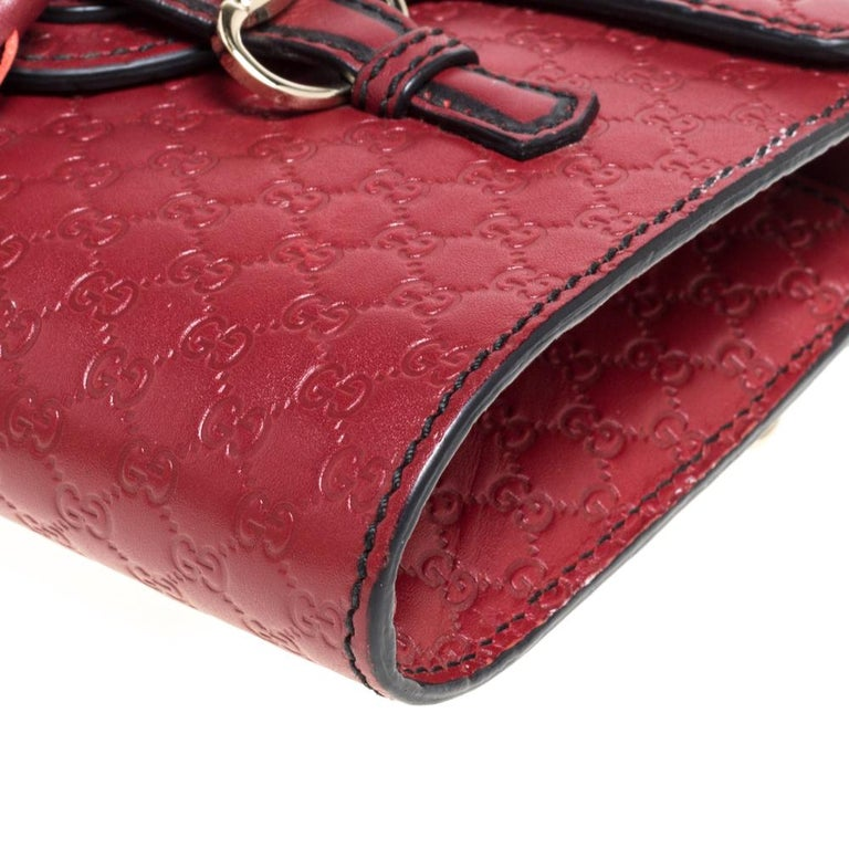 Gucci Red Microguccissima Leather Mini Emily Chain Shoulder Bag For Sale 3