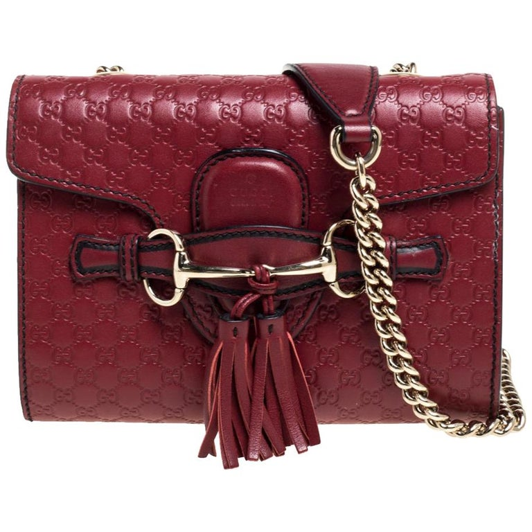Gucci Red Microguccissima Leather Mini Emily Chain Shoulder Bag For Sale