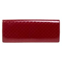 Gucci Red Microguccissima Patent Leather Broadway Clutch