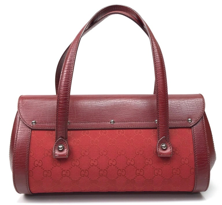 Gucci Red Monogram Leather Bamboo Bullet Handbag In Good Condition For Sale In Palm Beach, FL